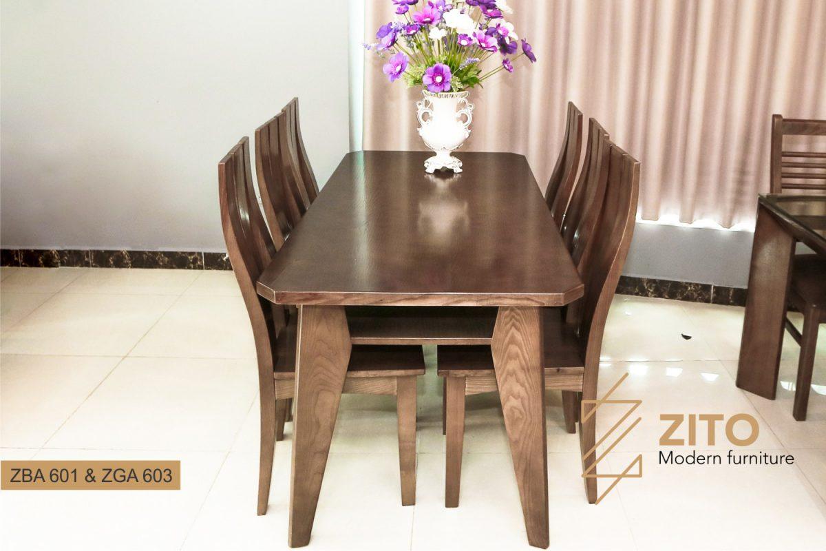 Bộ bàn ăn 6 ghế gỗ Sồi ZBA 601 & ZGA 603