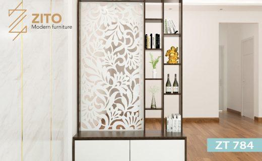 Kệ gỗ trang trí ZT 784 cho phòng khách đẹp chung cư