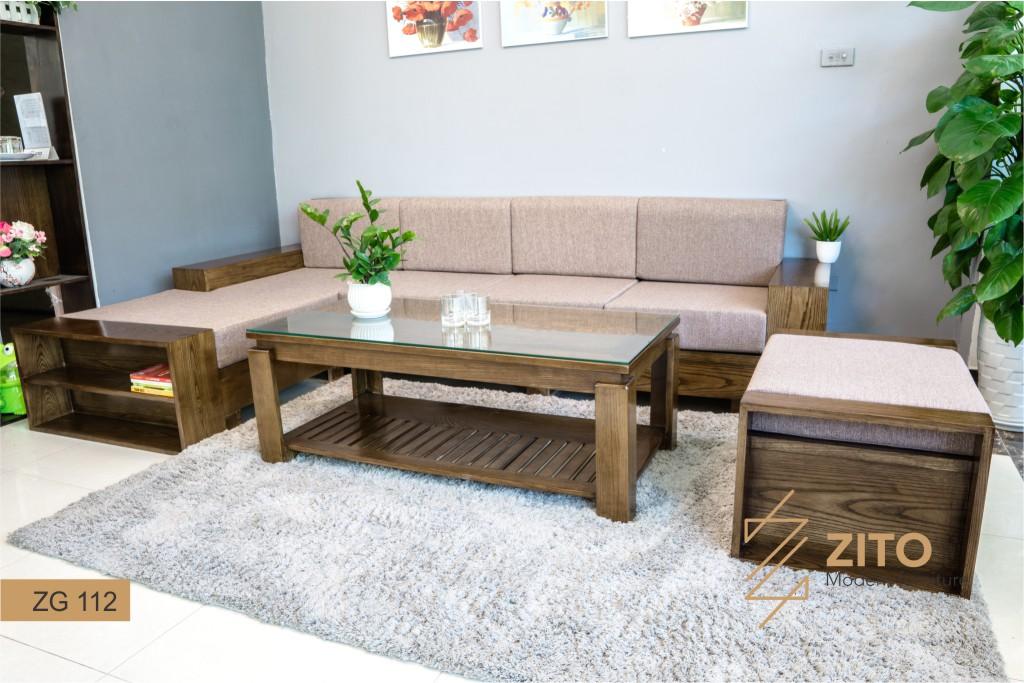 Bộ bàn ghế sofa đẹp gỗ màu óc chó chữL