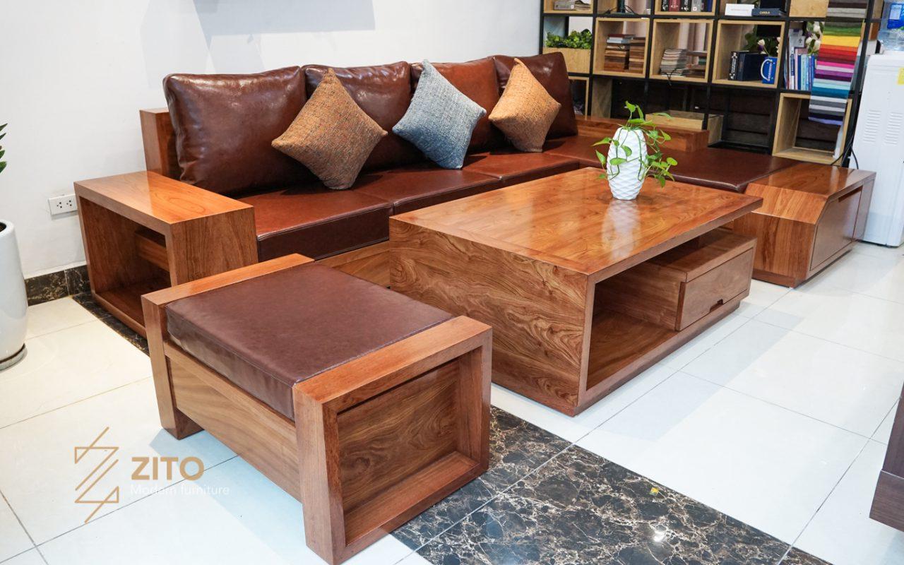 Bộ bàn ghế sofa gỗ ZG 118 cho phòng khách hiện đại đẹp
