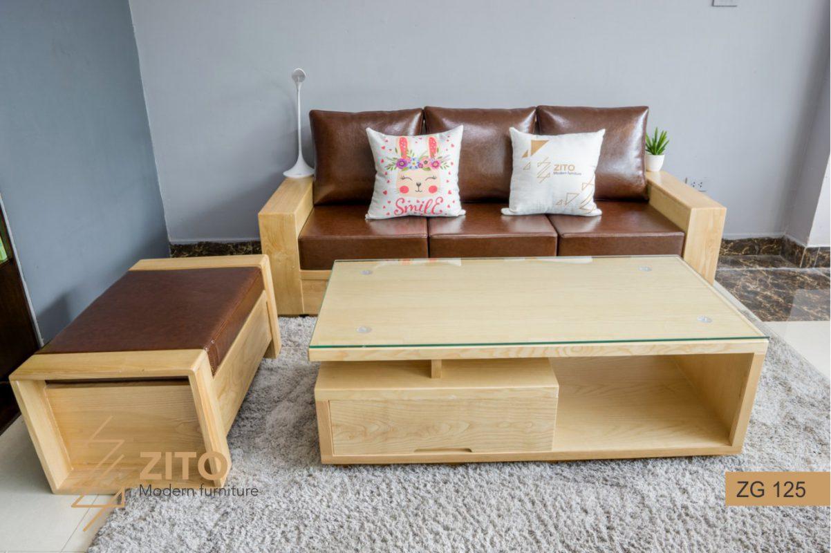 Bộ bàn ghế sofa văng gỗ đẹp cho phòng khách vừa và nhỏ