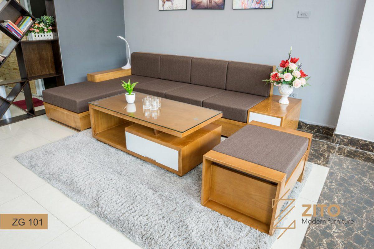 Bộ sofa gỗ chữ L màu cánh gián đẹp