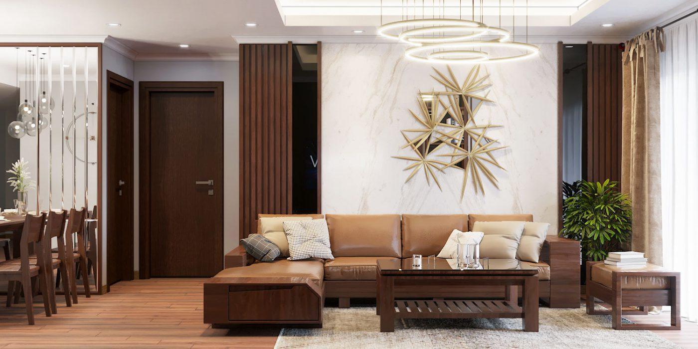 Mẫu thiết kế phòng khách bằng gỗ óc chó dẫn dầu xu hướng cho các căn hộ chung cư lớn năm 2021