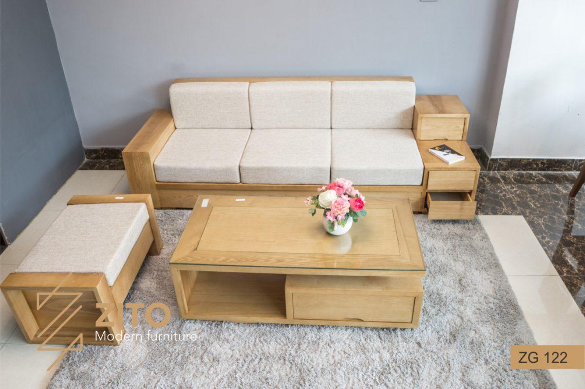 Chất liệu sofa gỗ sồi Mỹ sang trọng