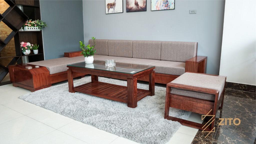 bàn ghế sofa gỗ tự nhiên chữ L