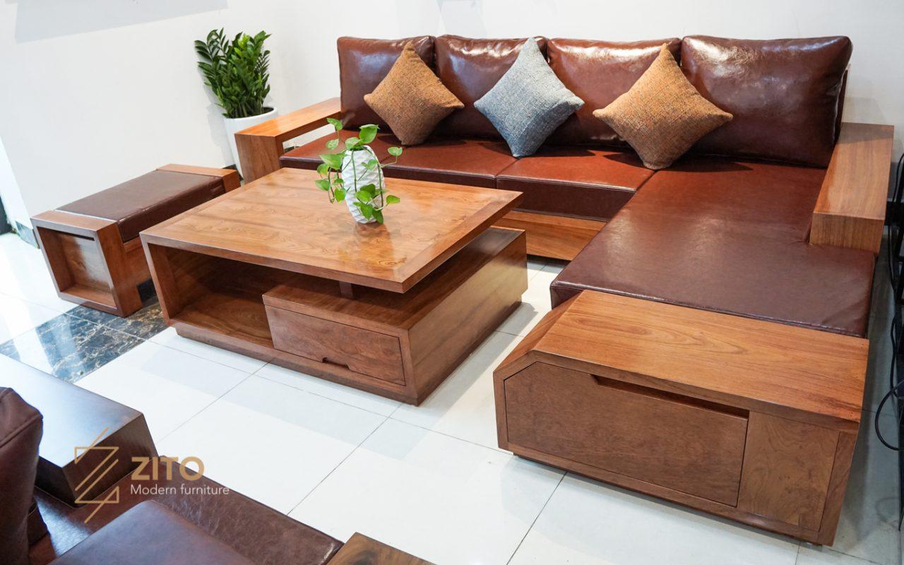 Mẫu sofa gỗ tự nhiên chữ L