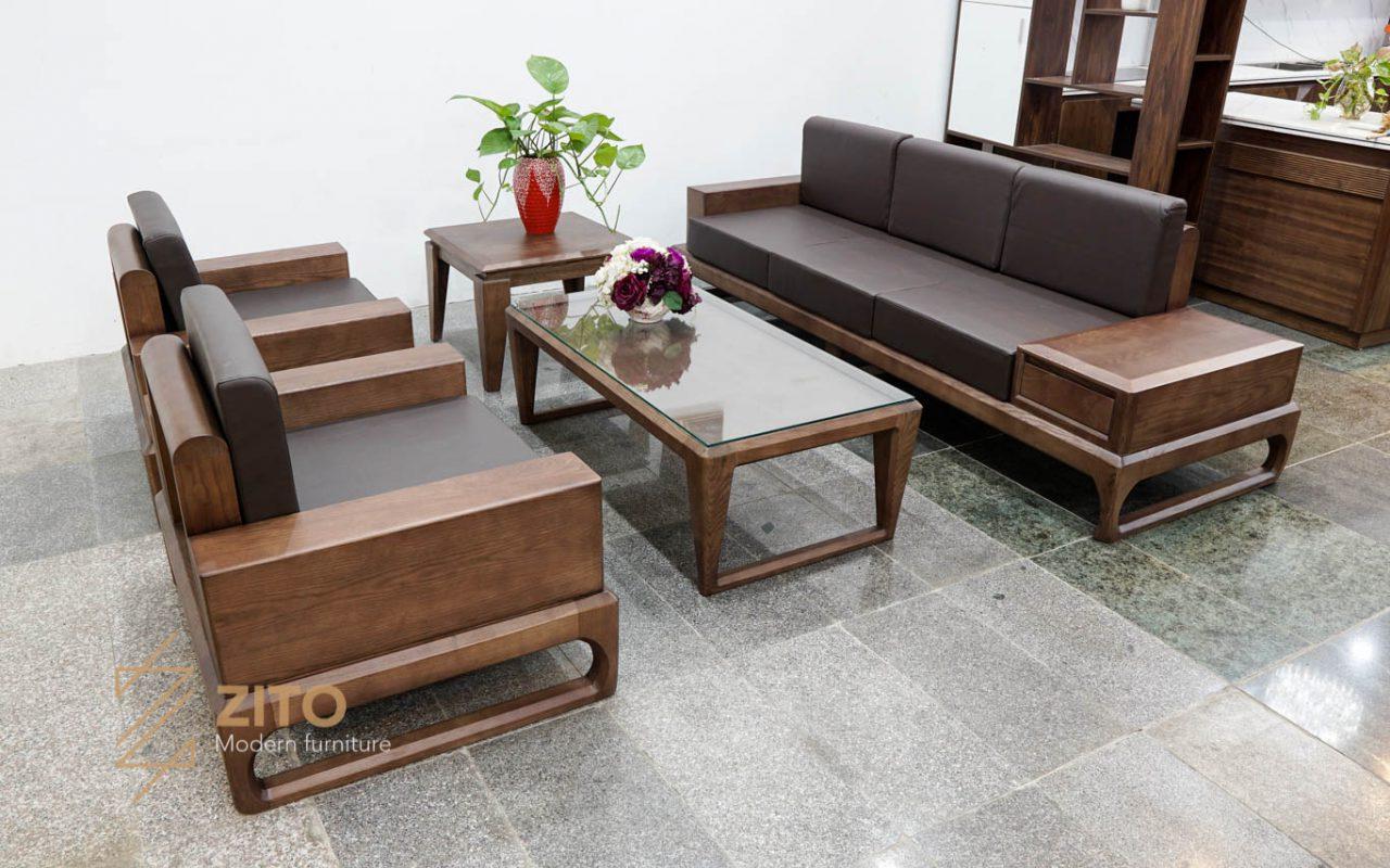 sofa gỗ cho không gian rộng