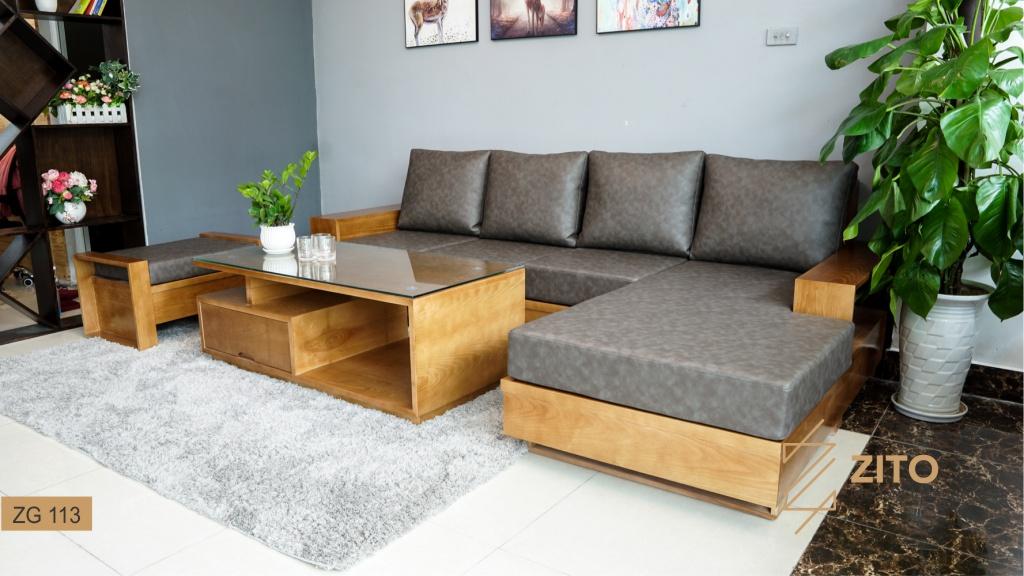 sofa gỗ kết hợp chất liệu Microfiber