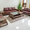 sofa gỗ óc chó cho phòng khách rộng