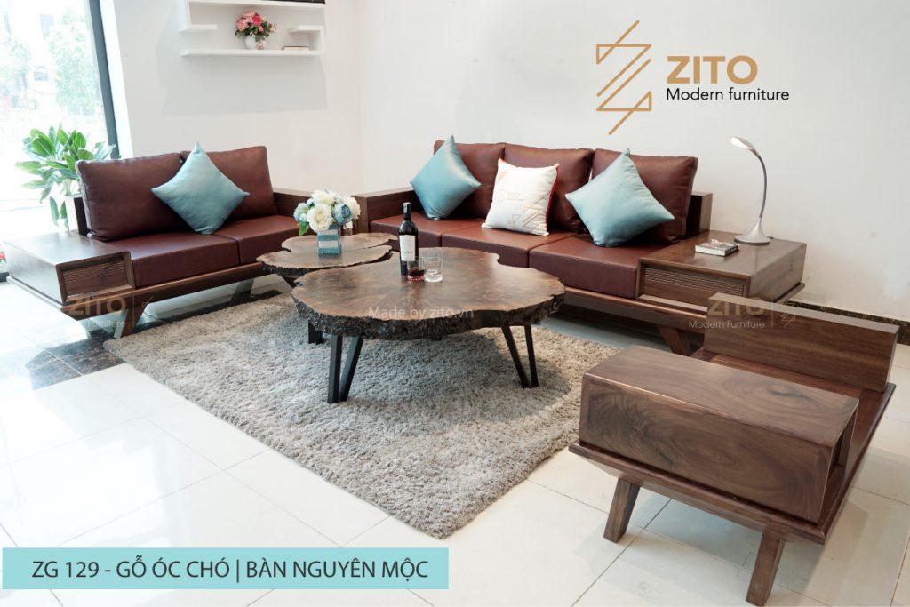 Sofa gỗ óc chó chữ U ZG 129 OC, ZG 129 OC