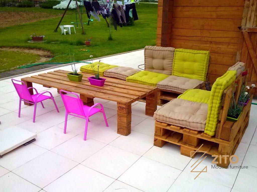 sofa gỗ thông pallet, sofa gỗ thông