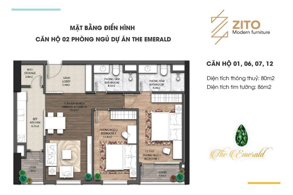 Thiết kế thi công nội thất căn hộ 2 phòng ngủ dự án The Emerald