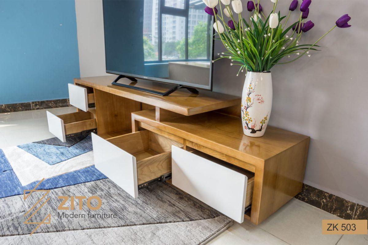 Thiết kế kệ tivi gỗ tự nhiên hiện đại