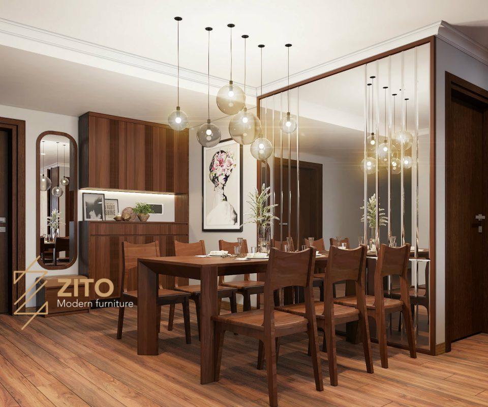 không gian thiết kế phòng bếp liên thông phòng khách