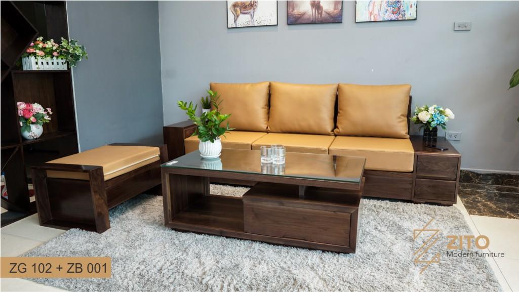 sofa gỗ óc chó có độ bền vượt trội