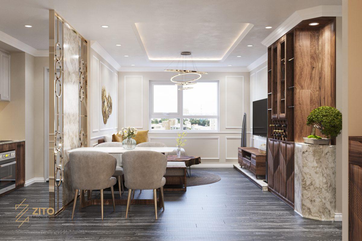 phòng bếp thiết kế hiện đại đơn giản đảm bảo tiện nghi