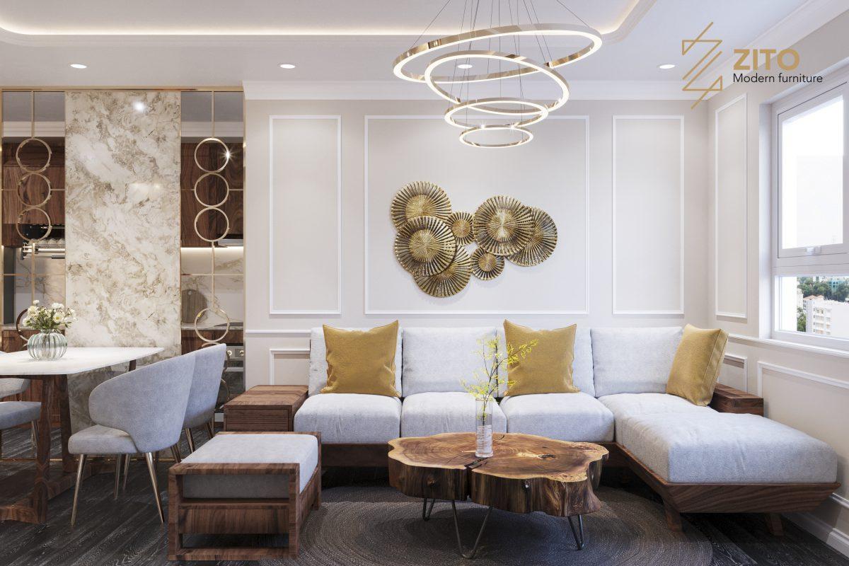 Lựa chọn bộ bàn ghế sofa góc L giúp tiết kiệm tối đa không gian phòng khách