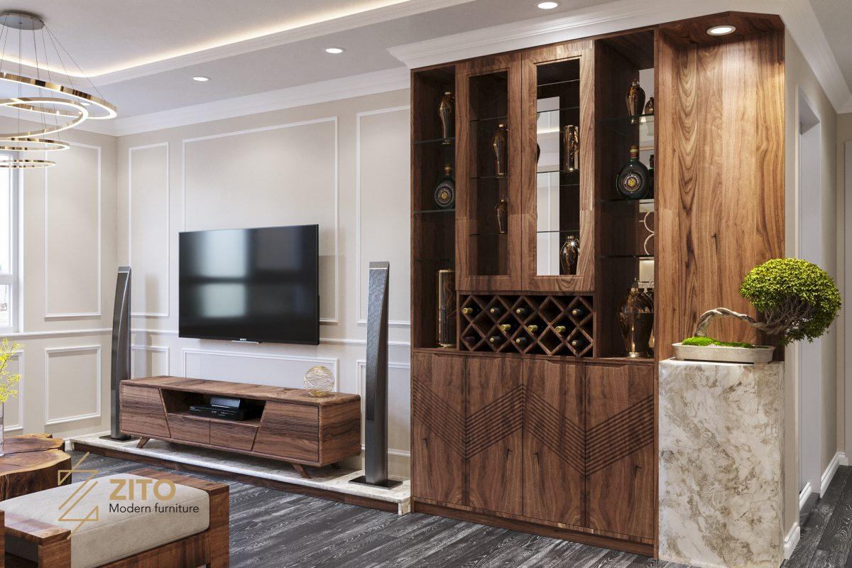 Hệ tủ tivi kết hợp tủ rượu gỗ sang trọng tiện lợi