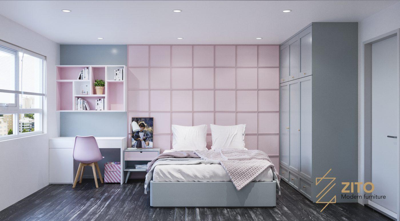 Phòng ngủ dành cho con được thiết kế với màu sách tươi sáng, giúp phát triển sự sáng tạo và trí tuệ của con