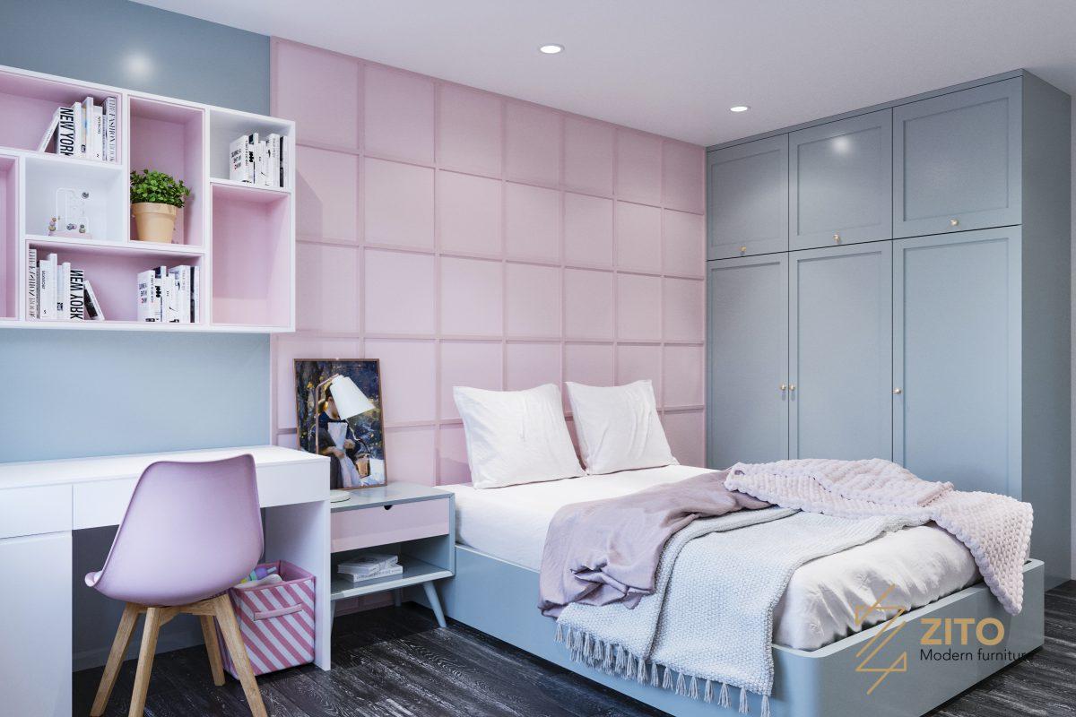 lựa chọn gam màu sáng tươi trẻ cho không gian phòng bé