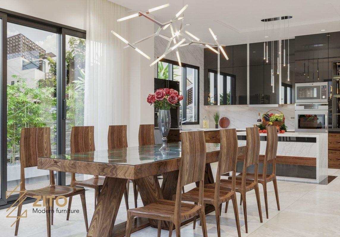 bộ bàn ăn gỗ thịt tự nhiên dành cho 8 người ăn