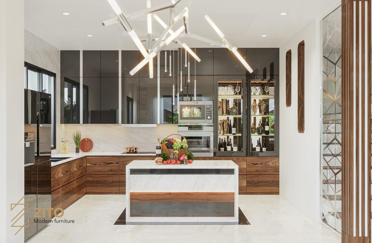 lựa chọn gam màu cho không gian bếp căn biệt thự