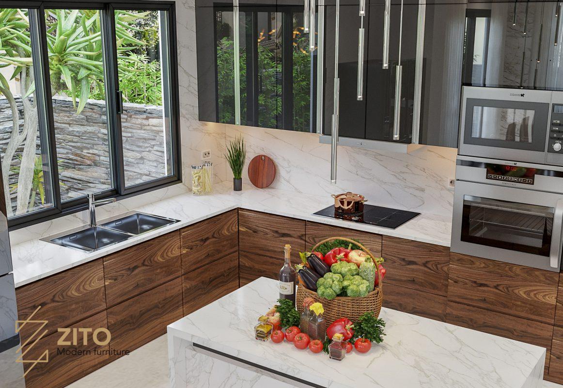 mẫu tủ kệ bếp hiện đại sang trọng cho biệt thự