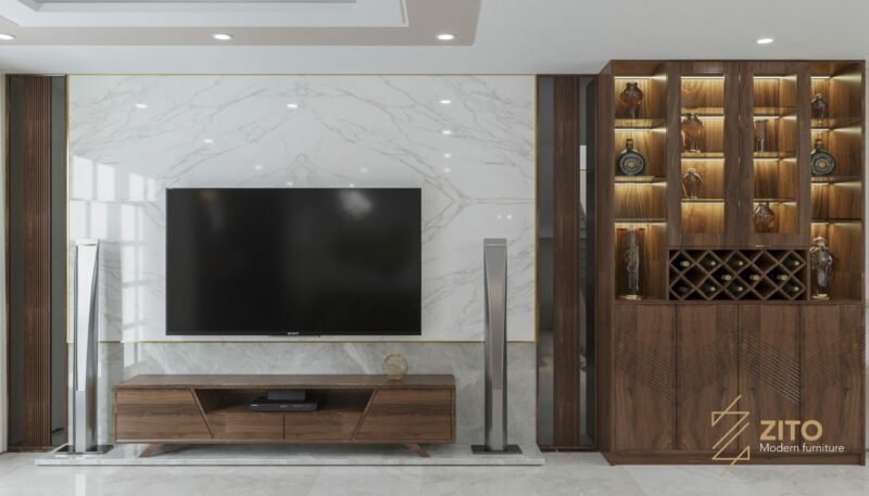 Ốp tường giả đá sau tivi giúp không gian thêm sang trọng, thông thoáng hơn