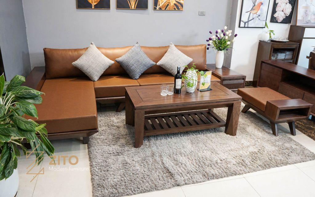 Sofa gỗ góc L ZG 132, zg 132