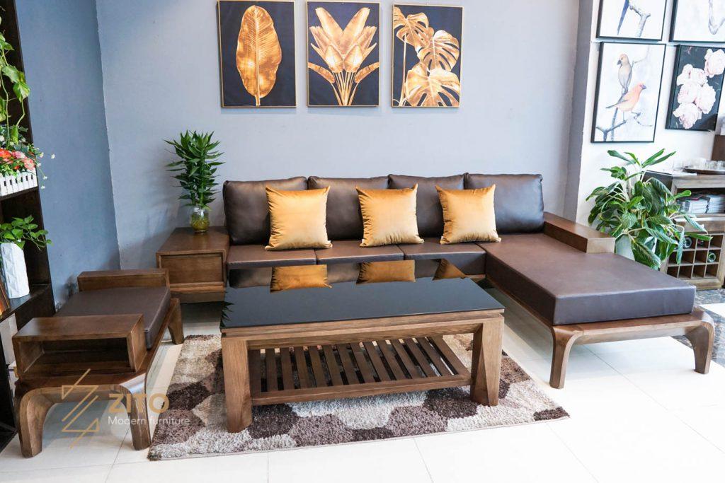 Sofa gỗ sồi góc L ZG 139 S08 sang trọng