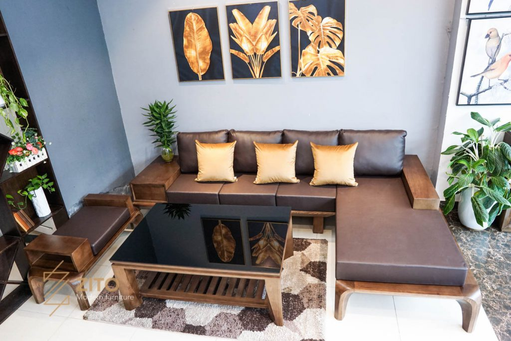 Kiểu dáng cuốn hút của sofa gỗ sồi góc L ZG 139 S08