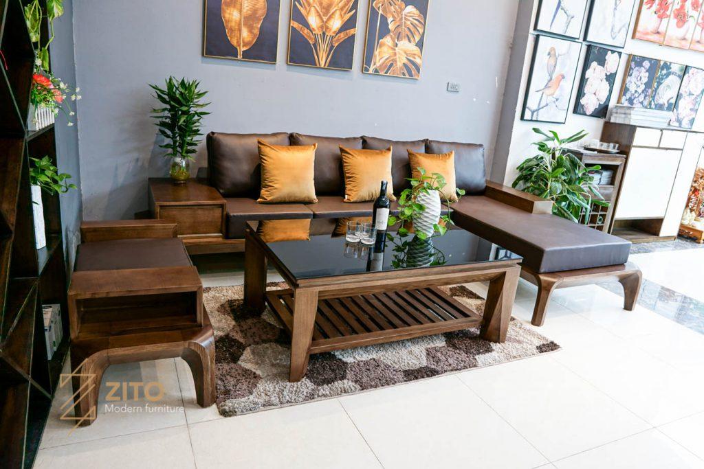 Thiết kế sofa gỗ L ZG 139 S08 sang trọng