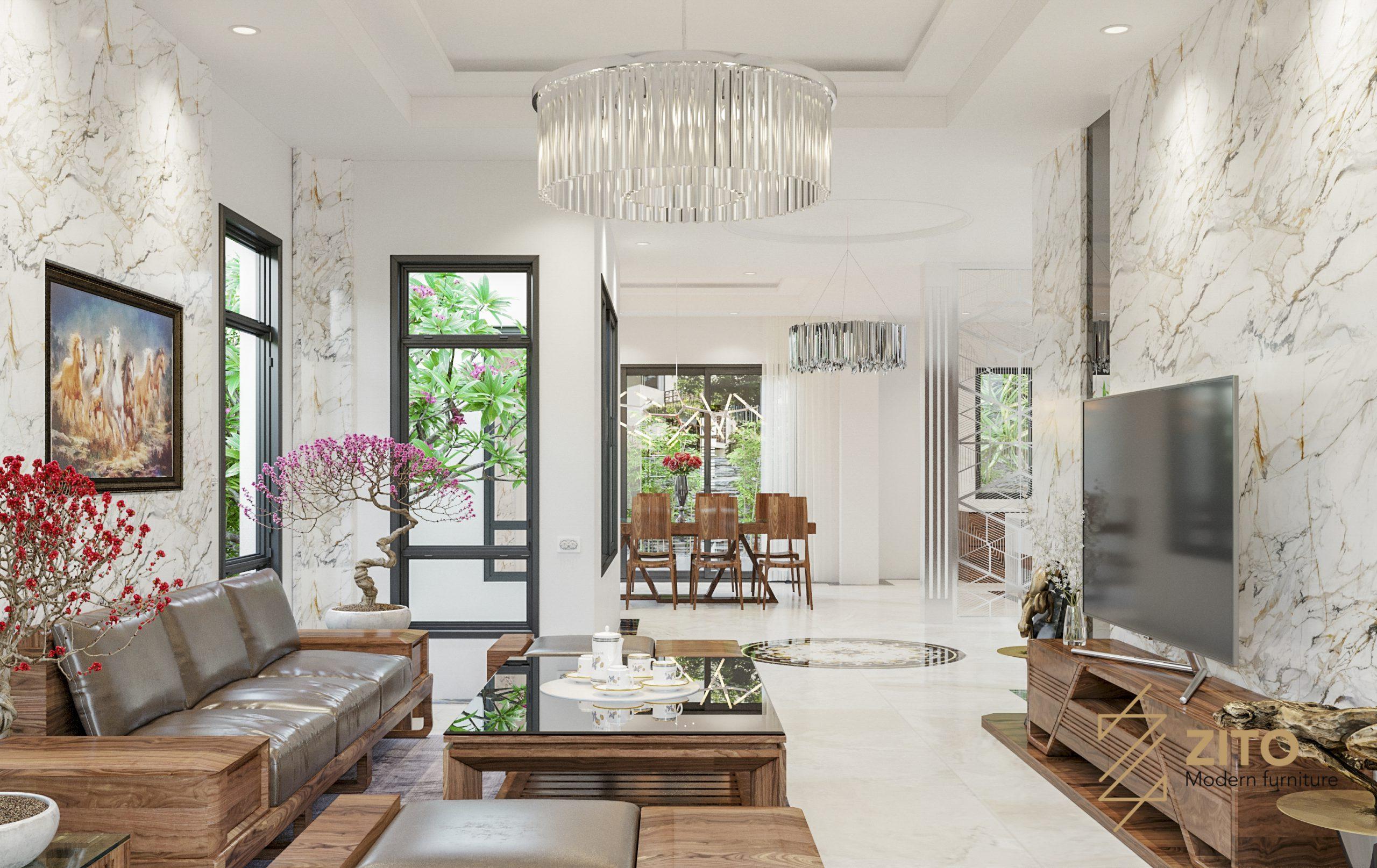 thiết kế nội thất phòng khách 3 gian