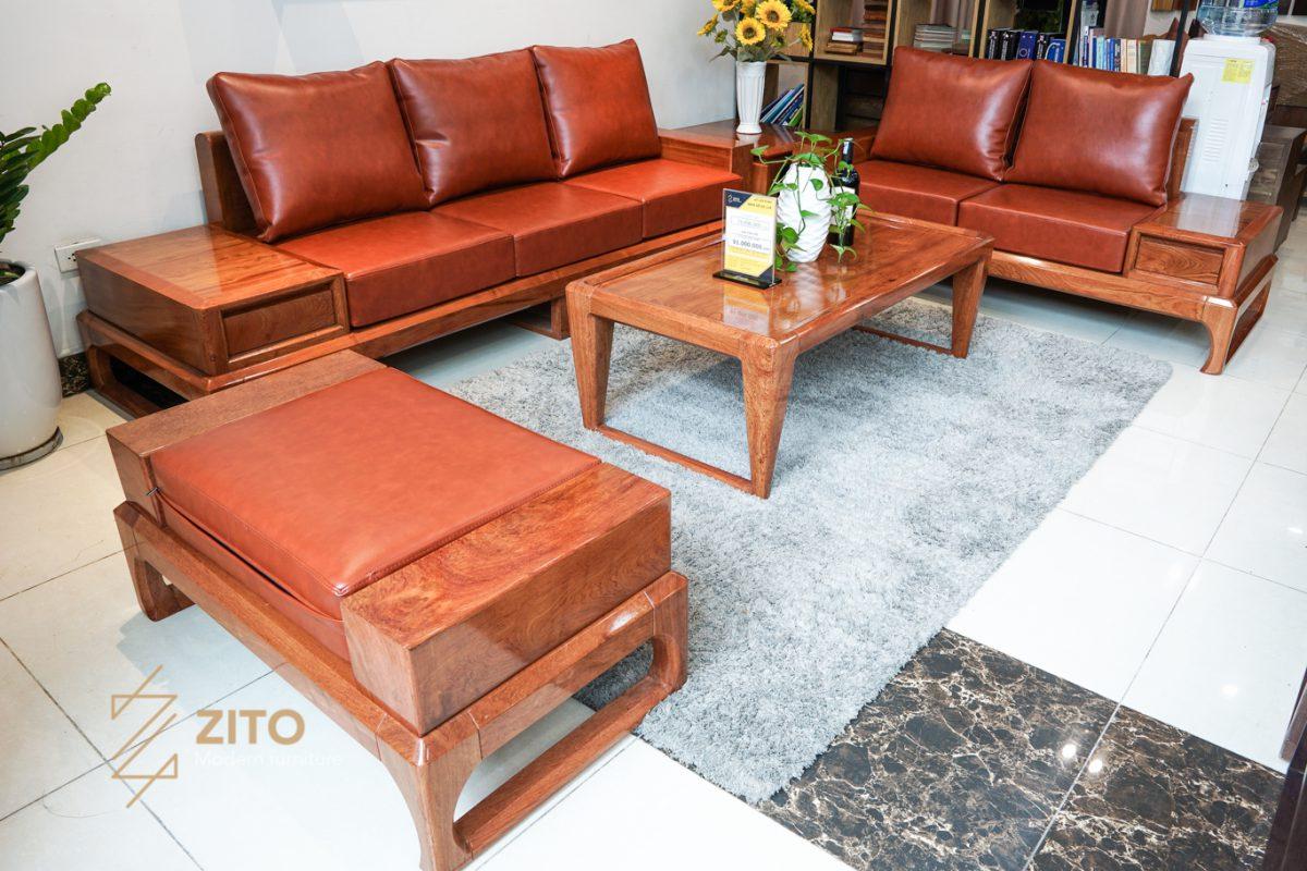bàn ghế sofa gỗ hương đá, bàn ghế sofa gỗ hương
