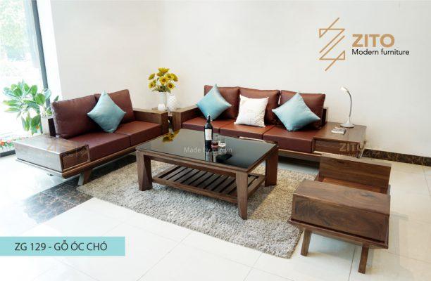 Bàn ghế sofa gỗ óc chó ZG 129