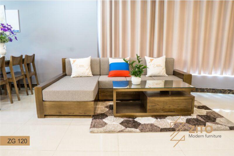 sofa gỗ sồi chữ L ZG 120 S08, ZG 120 S08