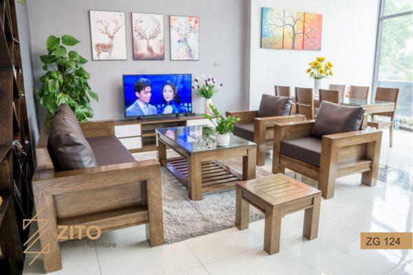 Sofa gỗ sồi chữ L ZG 124 S08