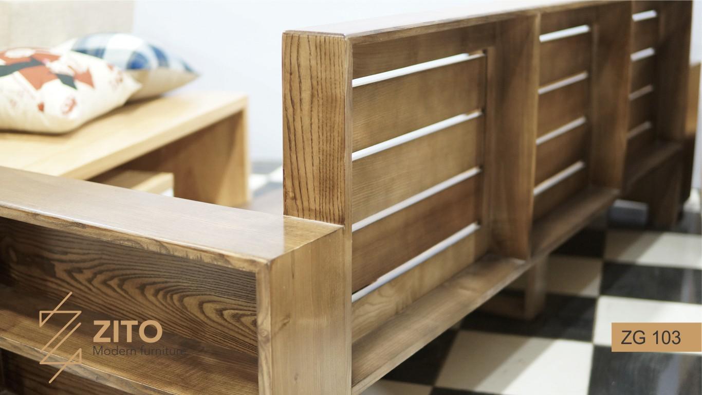 Sofa gỗ văng ZG 103 vân gỗ mềm mại