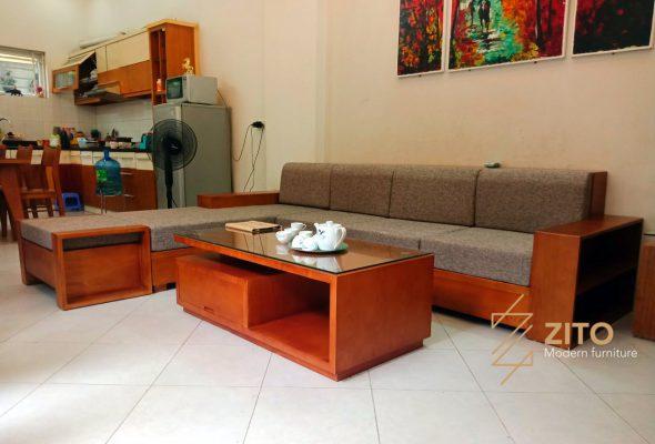 Hình ảnh thực tế bộ sofa phòng khách tại nhà bà Sâm – Sóc Sơn – Hà Nội