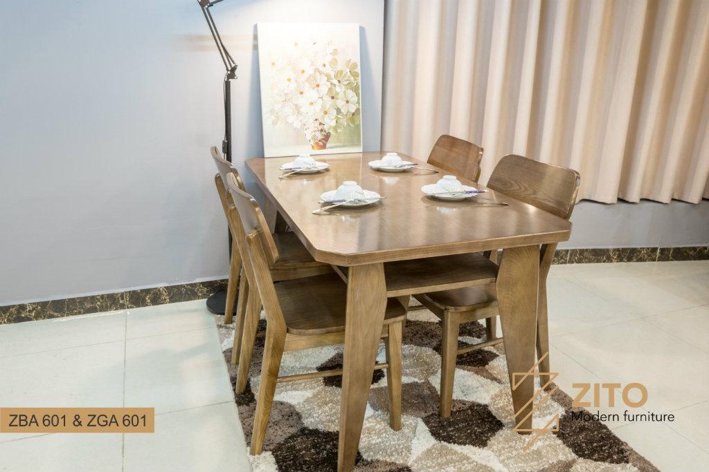 Bàn ghế ăn gỗ sồi màu óc chó ZBA 601 & ZGA 601 S08