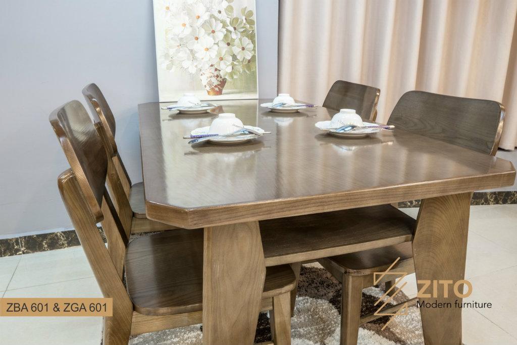 Bàn ghế ăn gỗ sồi màu óc chó lau vân ZBA 601 & ZGA 601 S08