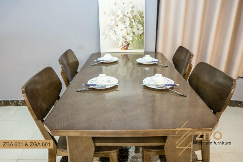 Bàn ghế ăn gỗ sồi ZBA 601 & ZGA 601 S08