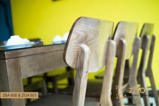 bàn ghế ăn gỗ sồi ZBA 606 và ZGA 601