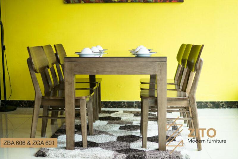 Bộ bàn ăn hình chữ nhật 6 ghế ZBA 606 & ZGA 601 S08