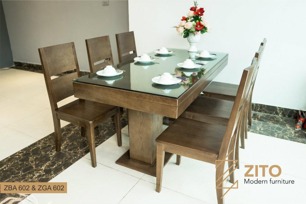 bàn ăn 6 ghế gỗ sồi ZBA 602 & ZGA 602