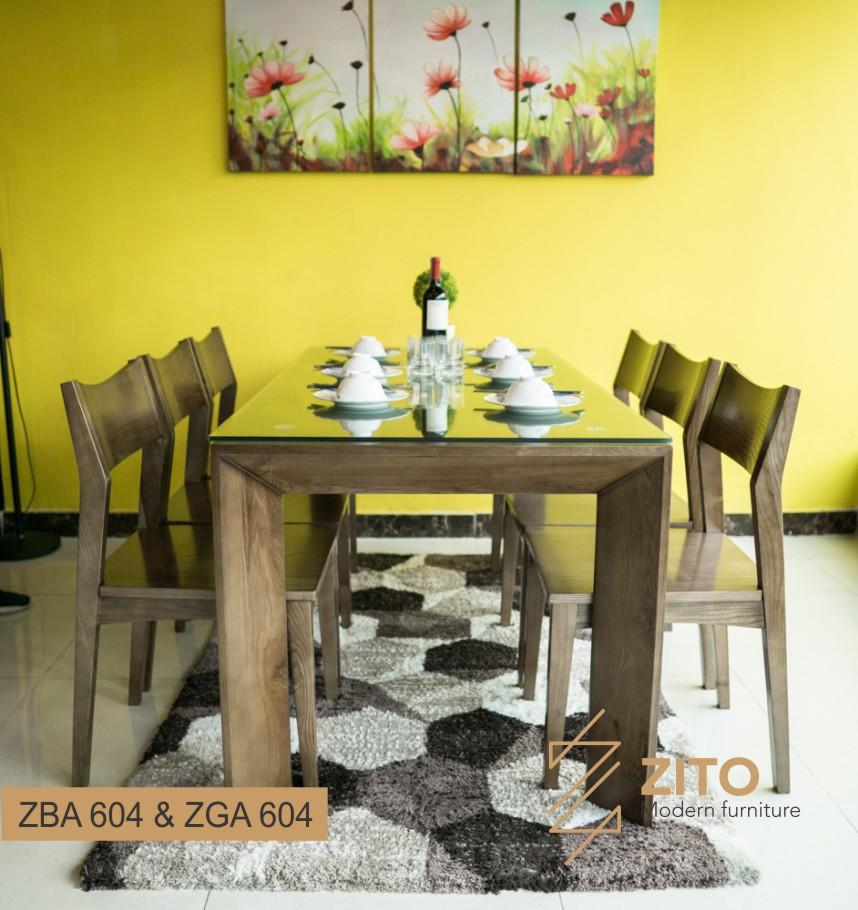 bộ bàn ghế ăn gia đinh ZBA 604 và ZGA 604