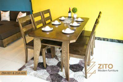 Bộ bàn ghế ăn hiện đại ZBA 601 & ZGA 605