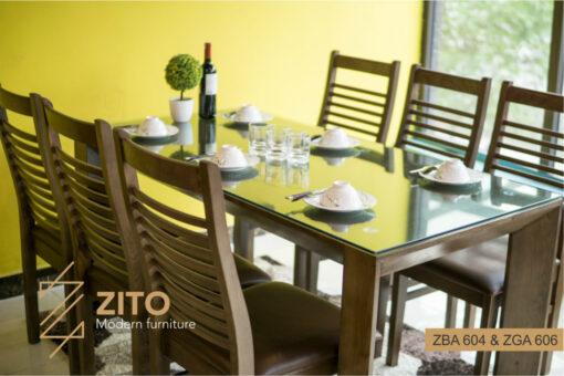 Bộ bàn ăn 6 ghế nhỏ gọn ZBA 604 & ZGA 606