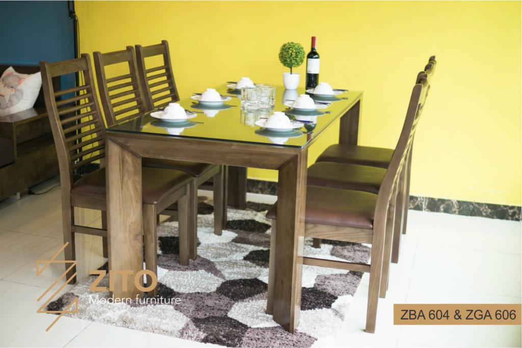 Bộ bàn ăn nhỏ gọn hiện đại ZBA 604 & ZGA 606