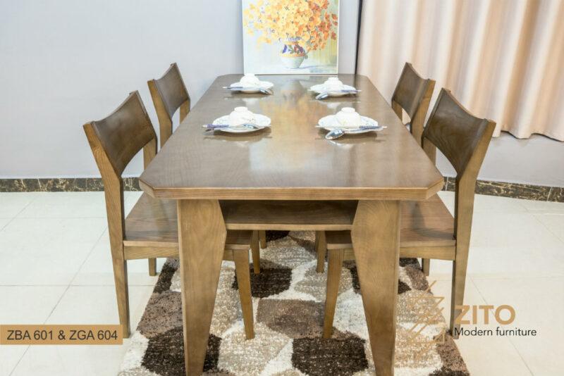 Bộ bàn ăn 4 ghế gỗ sồi cao cấp ZBA 601 & ZGA 604